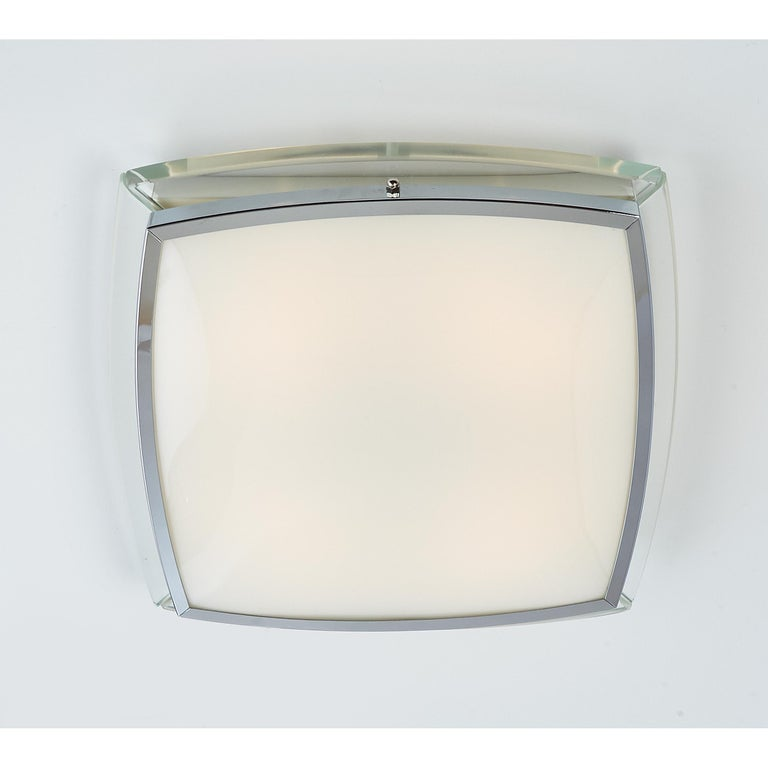 Squared Nickeled Flush Mount with Thick Clear Glass Frame, 1970s In Good Condition For Sale In New York, NY