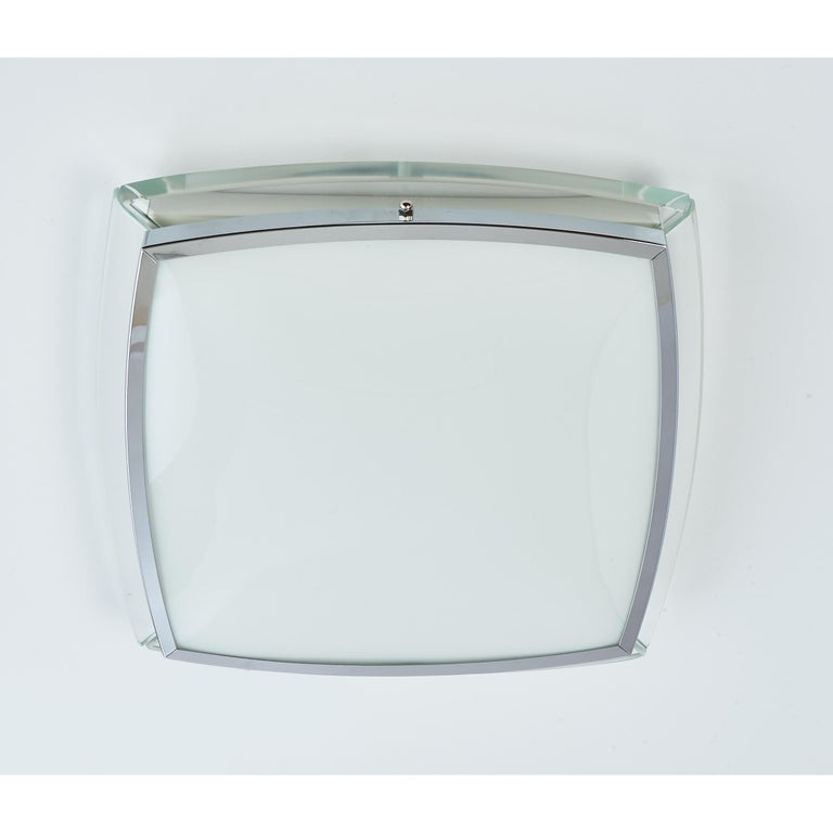 Late 20th Century Squared Nickeled Flush Mount with Thick Clear Glass Frame, 1970s For Sale