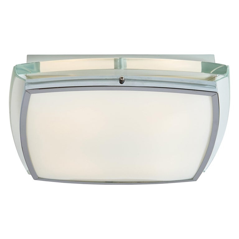 Squared Nickeled Flush Mount with Thick Clear Glass Frame, 1970s For Sale