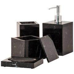 Squared Set for Bathroom in Black Marquina Marble