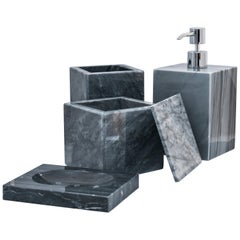 Squared Set for Bathroom in Grey Bardiglio Marble
