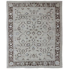 Squared Shape Vintage Turkish Oushak Rug with Brown and Cream Tones