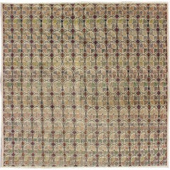 Squared Size Mid-Century Modern Rug with Circular Pattern in Variety of Colors