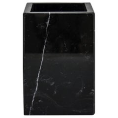 Squared Toothbrush Holder in Black Marble
