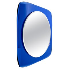 Squared Wall Mirror Blue Attributed to Fontana Arte, Italy, 1960s