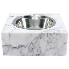 Squared White Carrara Marble Cats / Dogs Bowl