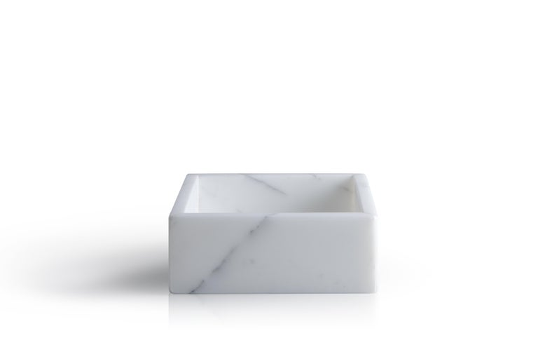 Italian Squared White Carrara Marble Guest Towel Tray For Sale
