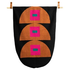 Squares Hand Embroidered Geometric Modern Tapestry Wall Hanging