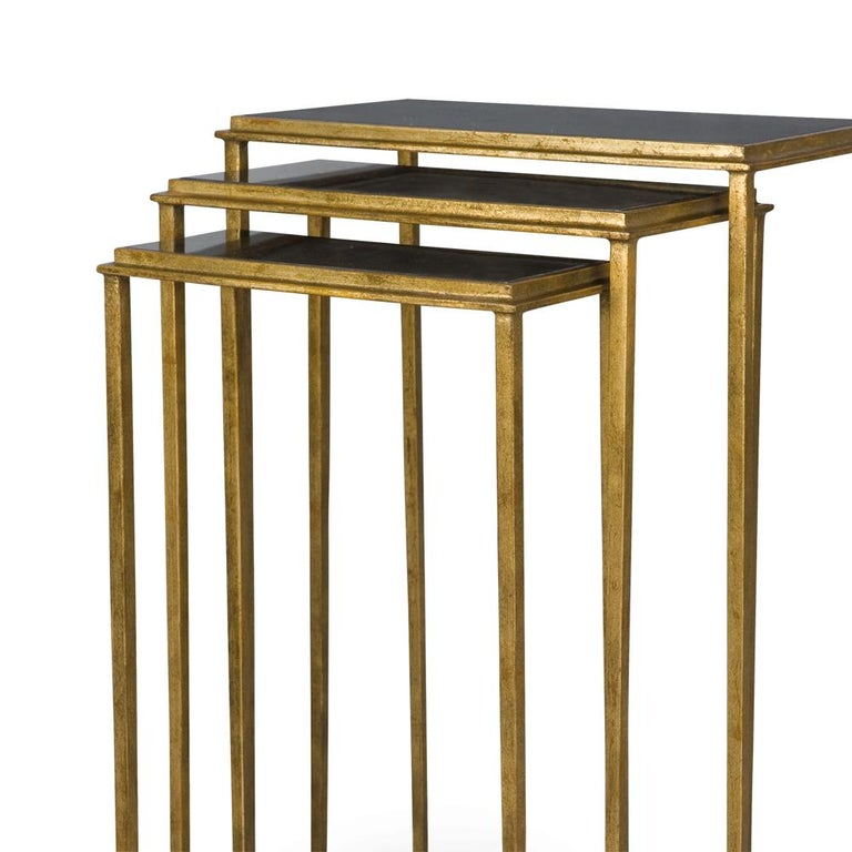 English Squares Sharped Gold Side Table Set of Three For Sale