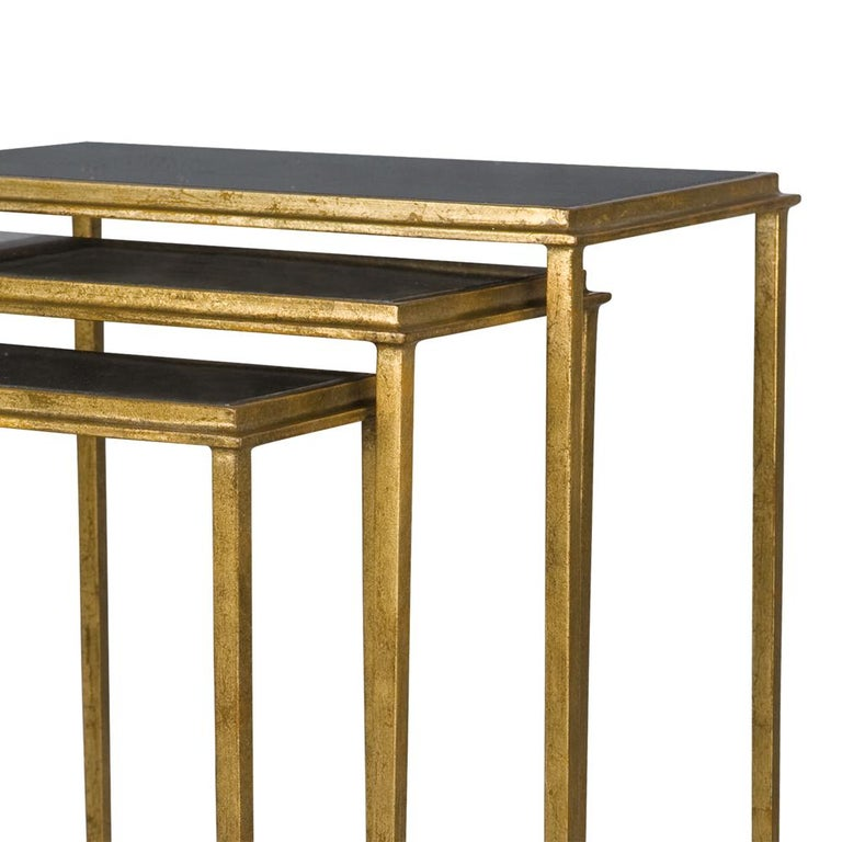 Hand-Crafted Squares Sharped Gold Side Table Set of Three For Sale