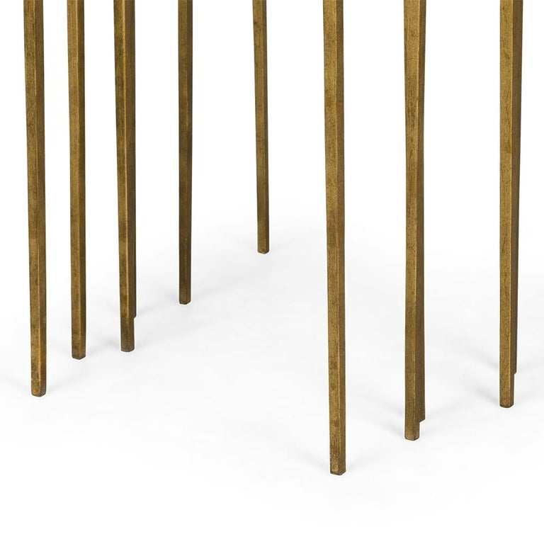 Contemporary Squares Sharped Gold Side Table Set of Three For Sale