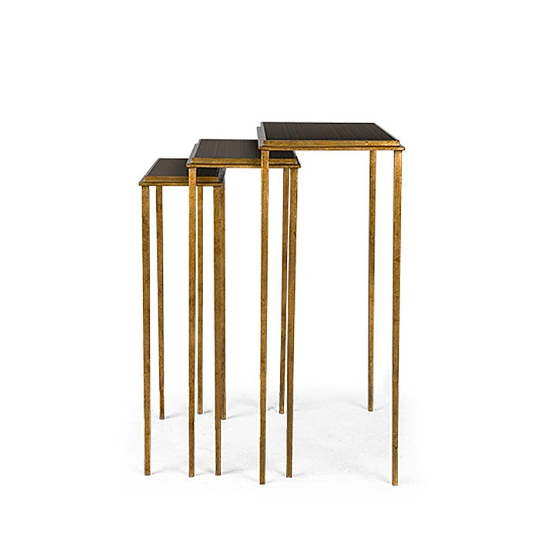 Metal Squares Sharped Gold Side Table Set of Three For Sale