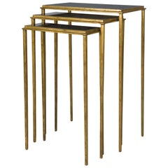 Squares Sharped Gold Side Table Set of Three