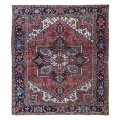Squarish Red Antique Persian Heriz Good Condition Clean Oriental Rug