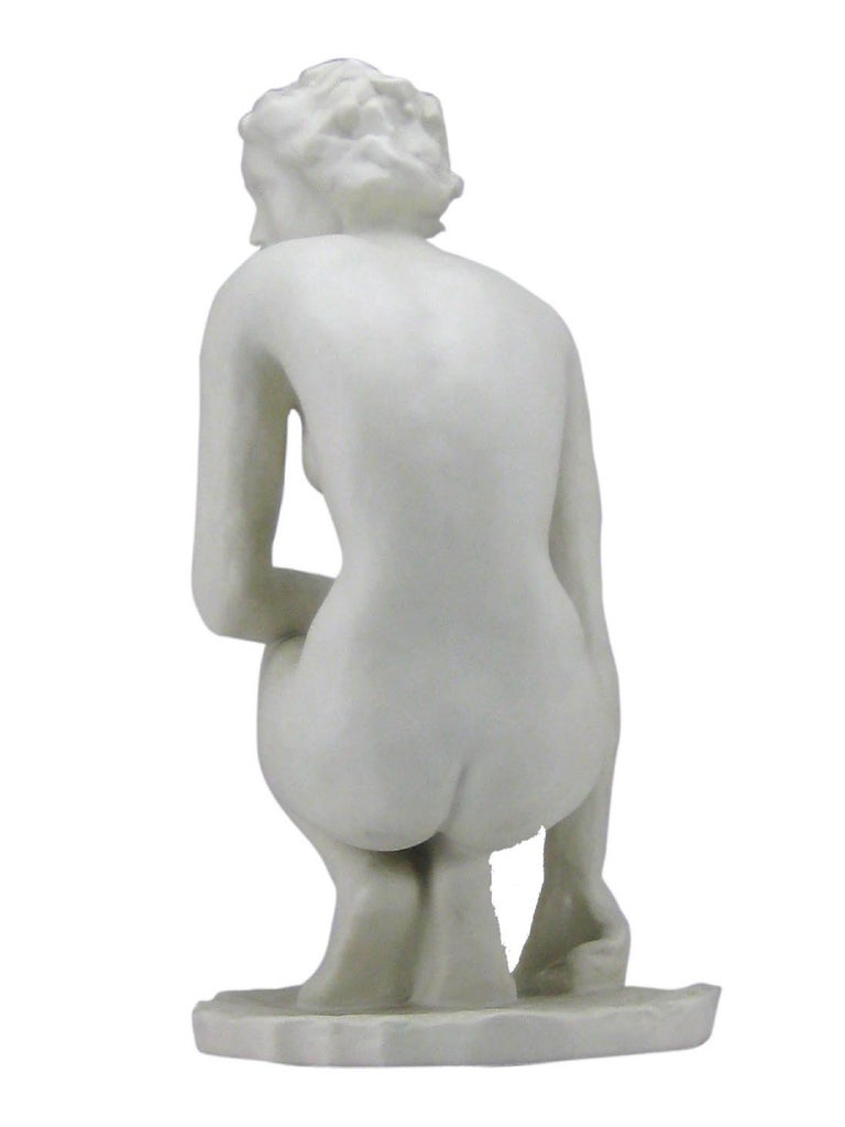Squatting Nude Rosenthal Bisquit Porcelain Signed by Fritz Klimsch 2