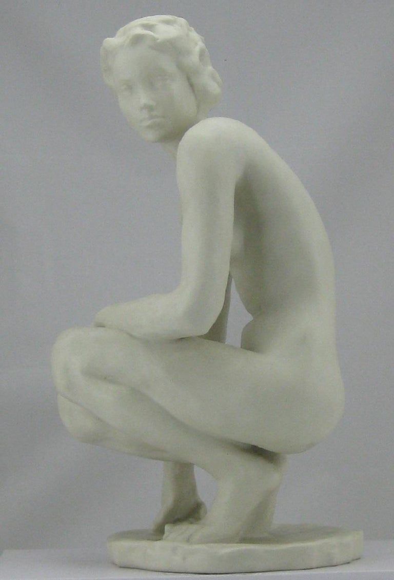 Squatting Nude Rosenthal Bisquit Porcelain Signed by Fritz Klimsch 4