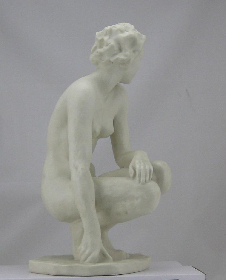 Squatting Nude Rosenthal Bisquit Porcelain Signed by Fritz Klimsch 5