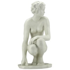Squatting Nude Rosenthal Bisquit Porcelain Signed by Fritz Klimsch