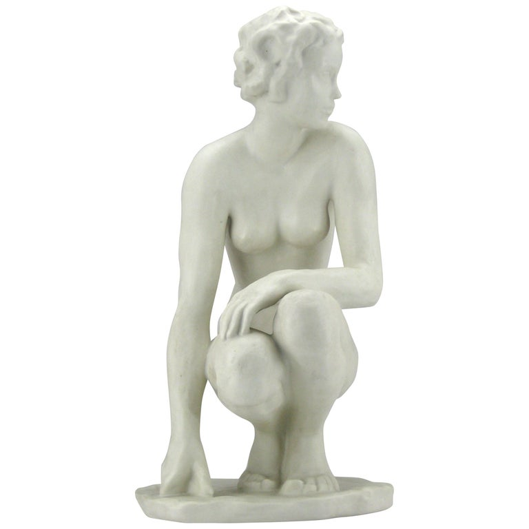 Squatting Nude Rosenthal Bisquit Porcelain Signed by Fritz Klimsch 1