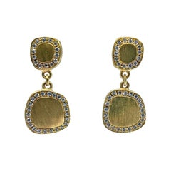 """""""Squircle"""" Drop Earrings in Brushed 18 Karat Gold and Diamonds"""