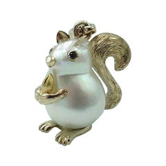 Squirrel Black Diamond 18 Karat Gold Pearl Pendant Necklace and Charm