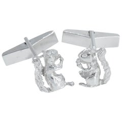 Squirrel Cufflinks in Solid Sterling Silver