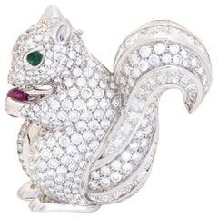 Squirrel Diamond on Gold Brooch