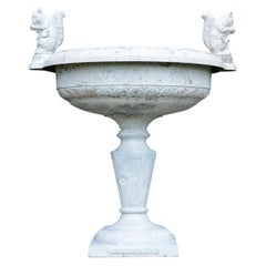 White Painted Cast-Iron Urn with Squirrel Handles