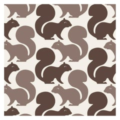 Squirrels Designer Wallpaper in Color Latte 'Chocolate Brown and Khaki on Cream'