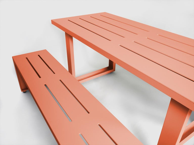 Powder-Coated Contemporary Picnic Table / Dining Set - Aluminum  For Sale