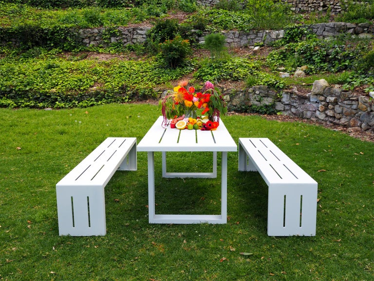 Contemporary Picnic Table / Dining Set - Aluminum  For Sale 2
