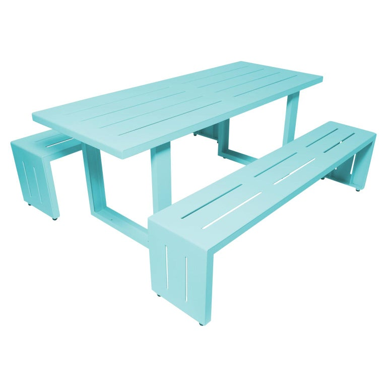 Contemporary Picnic Table / Dining Set - Aluminum  For Sale