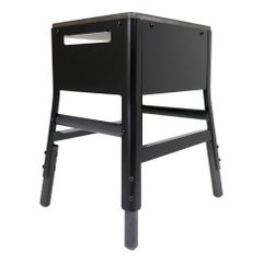 "Powder Coated Steel & White Oak stool with cubby - 18"" H - Matte Black"