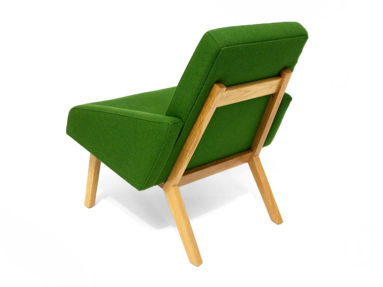 Hand-Crafted Lounge Chair with White Oak Frame For Sale
