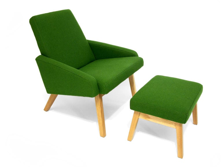 Contemporary Lounge Chair with White Oak Frame For Sale