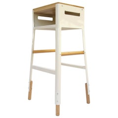 "Powder Coated Steel & White Oak bar stool with cubby - 30"" H - Oyster White"