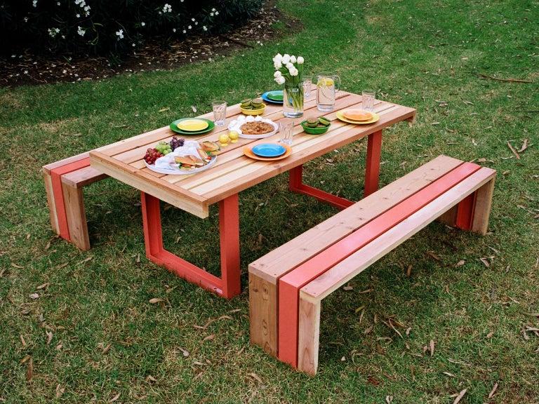 Aluminum Contemporary Picnic Table / Dining Set - White Oak For Sale
