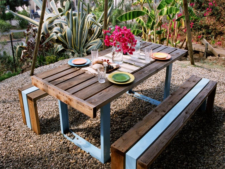 Contemporary Picnic Table / Dining Set - White Oak For Sale 1