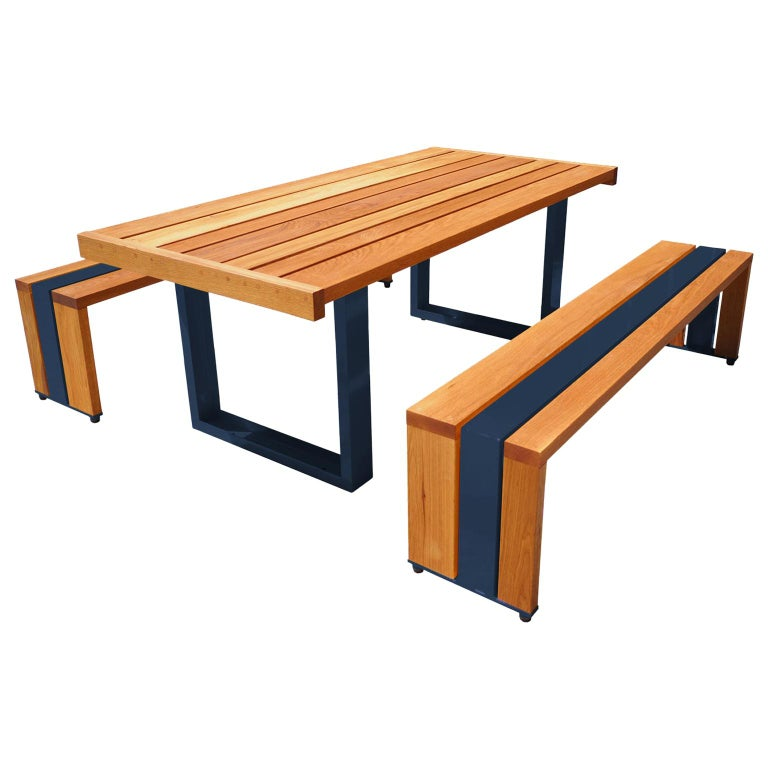 Contemporary Picnic Table / Dining Set - White Oak For Sale