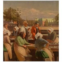 Søren Christian Bjulf, Fishwives at the Old Dock, Copenhagen, Oil on Canvas