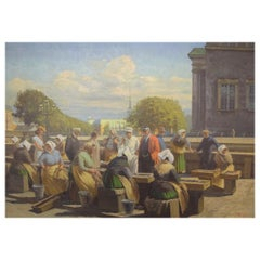 Søren Christian Bjulf, Oil on Canvas, Fishwives at the Old Dock