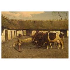 Søren Edsberg (B. 1945) Denmark, Oil on Canvas, Farm Landscape with Boy and Cows