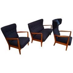 Søren Hansen for Fritz Hansen, Danish Designed Sofa Set, 1950s, Reupholtered