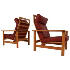 Søren Holst Danish Lounge Chairs in Oak and Leather for Frederecia Furniture