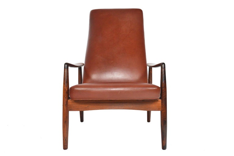 Søren Ladefoged Model 72 Rosewood and Leather Reclining Lounge Chair and Ottoman 5
