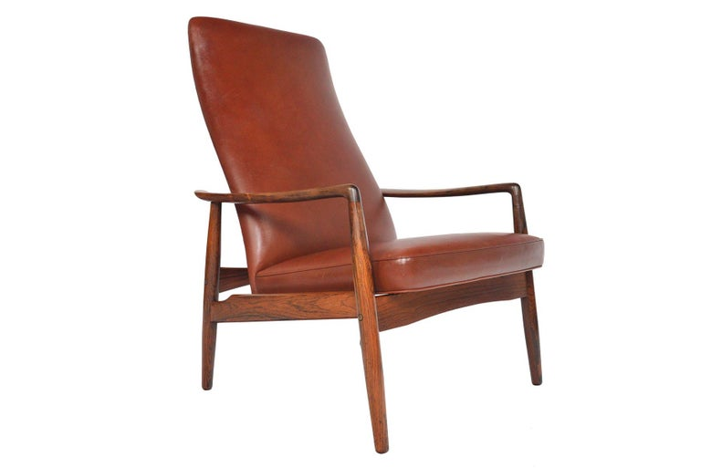 Scandinavian Modern Søren Ladefoged Model 72 Rosewood and Leather Reclining Lounge Chair and Ottoman