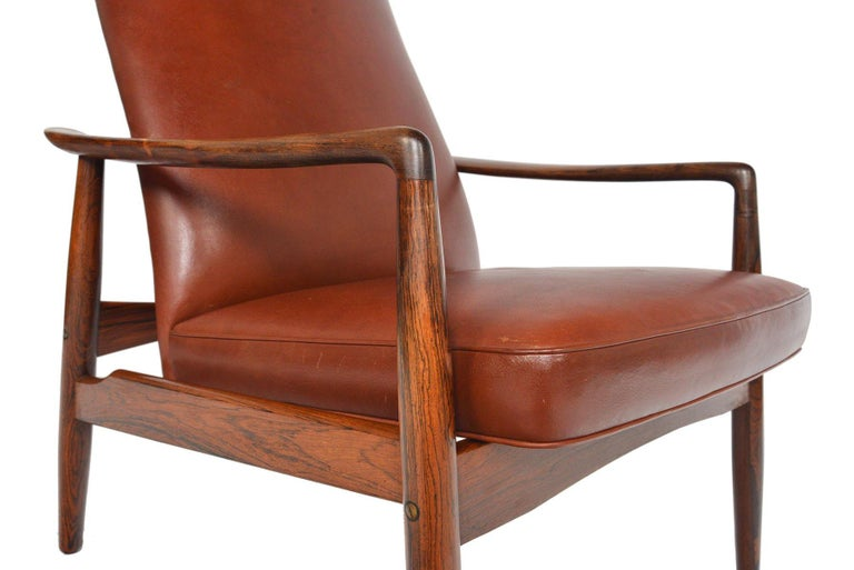 Danish Søren Ladefoged Model 72 Rosewood and Leather Reclining Lounge Chair and Ottoman
