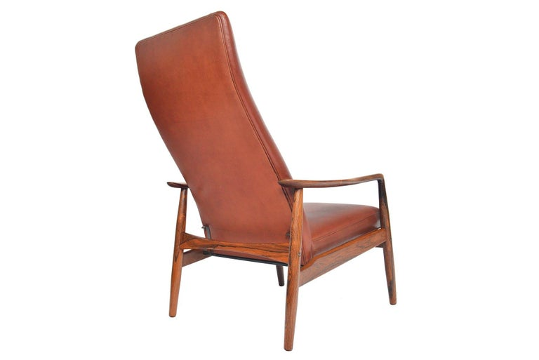 Søren Ladefoged Model 72 Rosewood and Leather Reclining Lounge Chair and Ottoman In Good Condition In Berkeley, CA