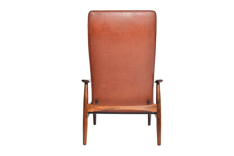 Søren Ladefoged Model 72 Rosewood and Leather Reclining Lounge Chair and Ottoman 1