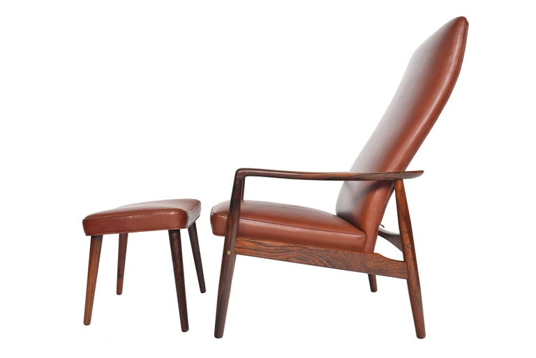 Søren Ladefoged Model 72 Rosewood and Leather Reclining Lounge Chair and Ottoman 2